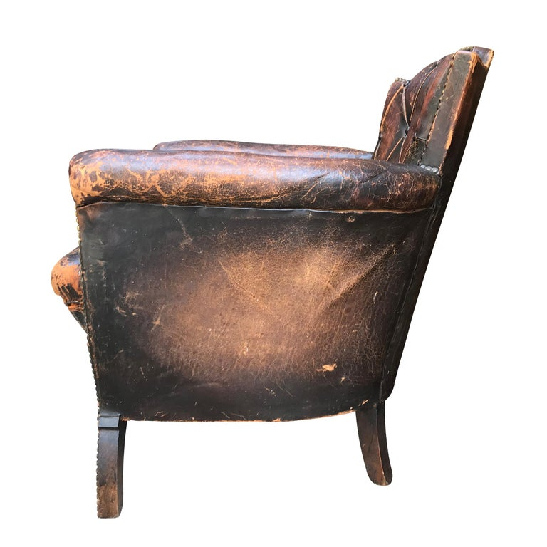 Leather Club Chair by Otto Schulz In Distressed Condition For Sale In Chicago, IL