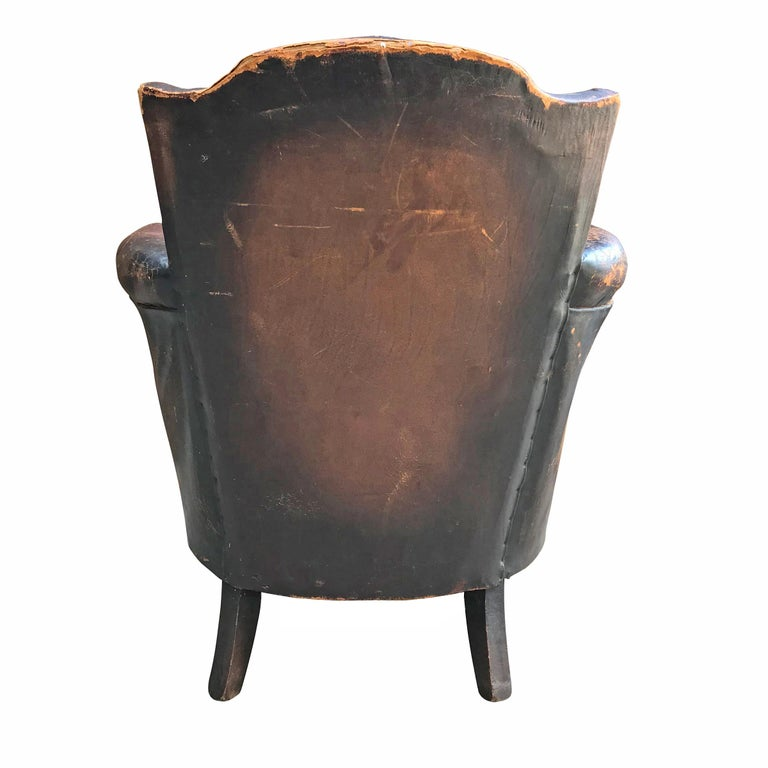 Swedish Leather Club Chair by Otto Schulz For Sale