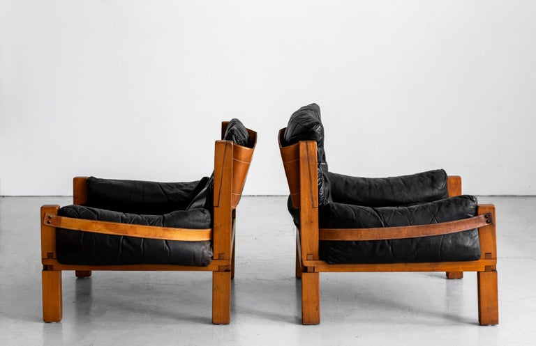 French Leather Club Chairs by Pierre Chapo For Sale