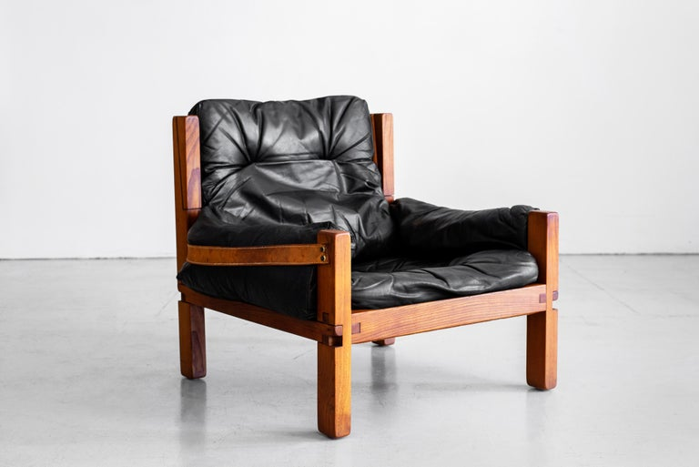 Mid-20th Century Leather Club Chairs by Pierre Chapo For Sale