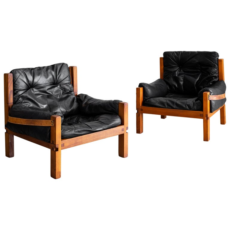 Leather Club Chairs by Pierre Chapo For Sale