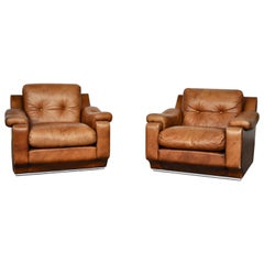 Leather Club Chairs with Metal Polyshed Base Structure, Italy, 1970s