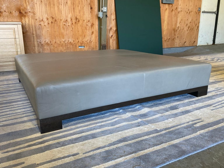 Leather Coffee Table, Extra Large In Good Condition For Sale In Southampton, NY