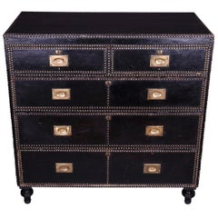 Leather Covered Brass Studded, Chest of Drawers, circa 1900