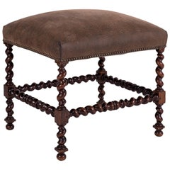 Leather-Covered Louis XIII Walnut Stool