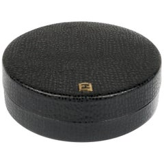 Leather Covered Round Box