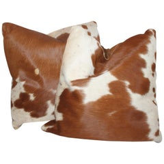 Leather Cow Hide Pillows, Pair