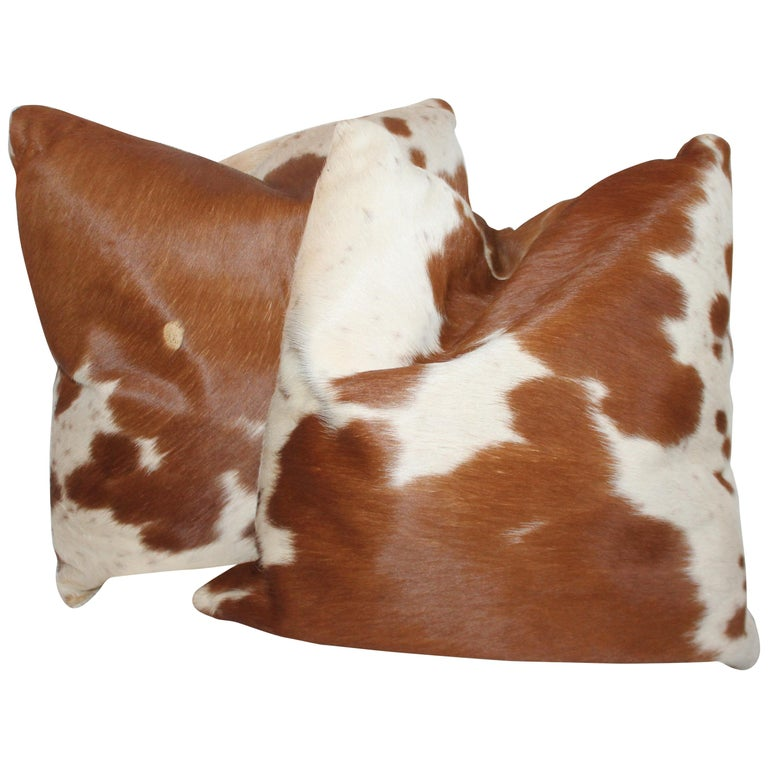 Leather Cow Hide Pillows, Pair For Sale