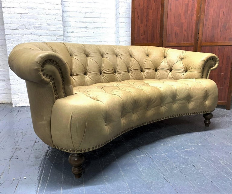 Leather Curved Chesterfield Style Sofa In Good Condition For Sale In New York, NY