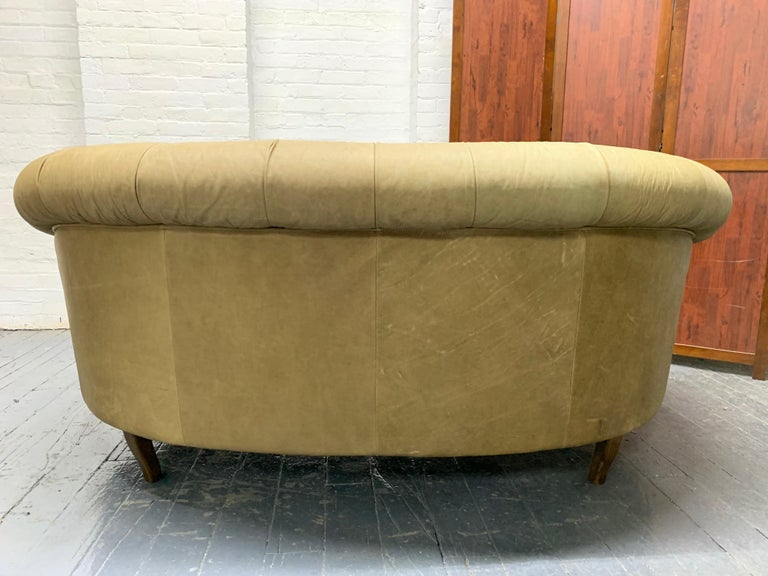 Late 20th Century Leather Curved Chesterfield Style Sofa For Sale