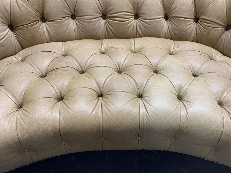 Leather Curved Chesterfield Style Sofa For Sale 1