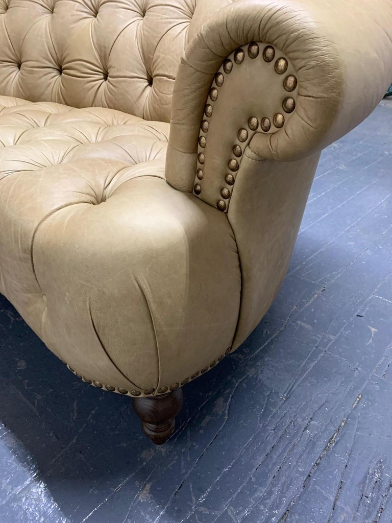 Leather Curved Chesterfield Style Sofa For Sale 2