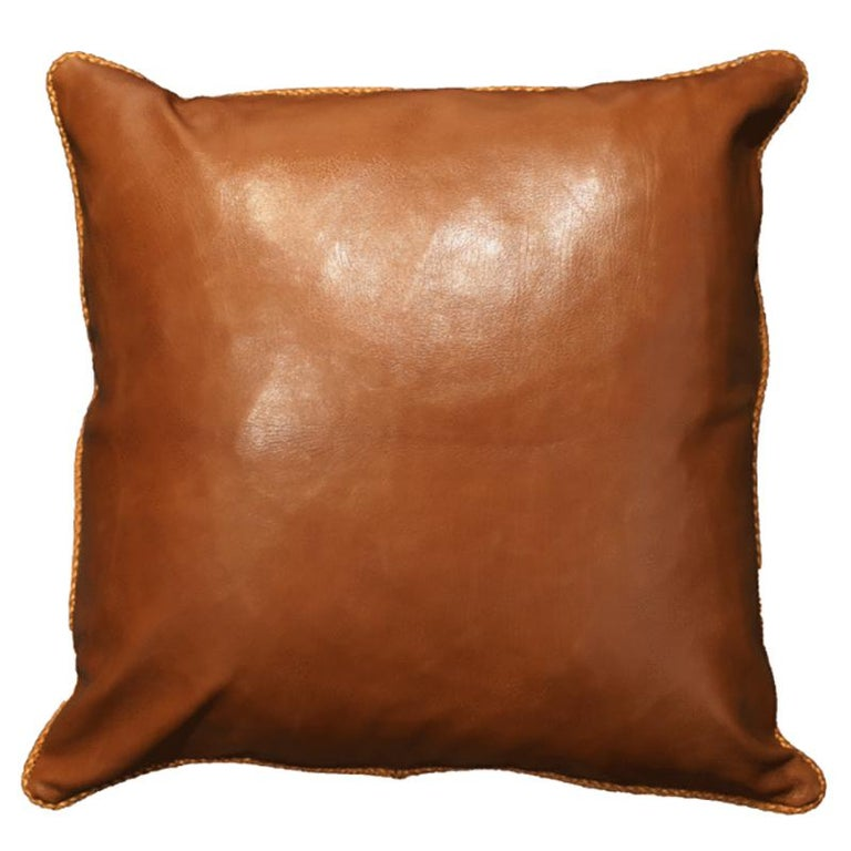 Spanish Leather Cushion, Brown Vegetable Dyed For Sale