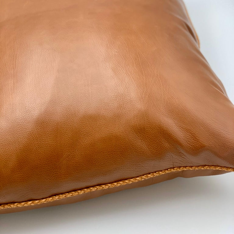 Hand-Crafted Leather Cushion, Brown Vegetable Dyed For Sale