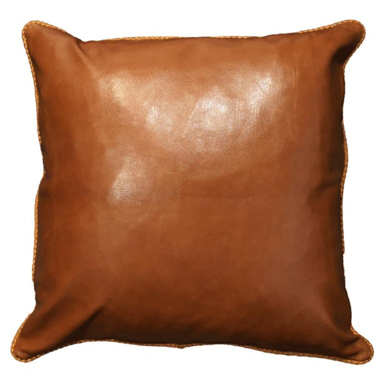 Leather Cushion, Brown Vegetable Dyed For Sale