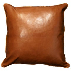 Leather Cushion, Brown Vegetable Dyed