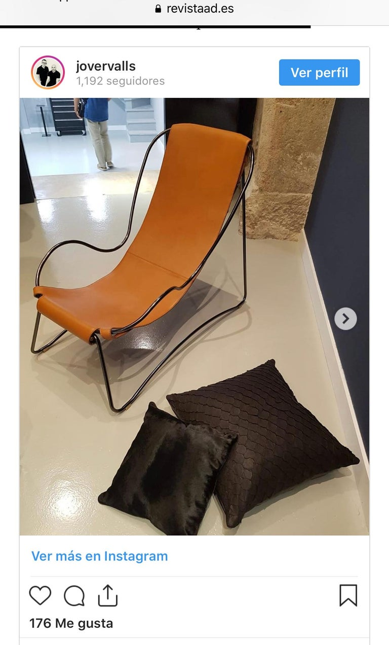Contemporary Leather Cushion, Made with Exclusive Pirarucu Fish Leather Black For Sale