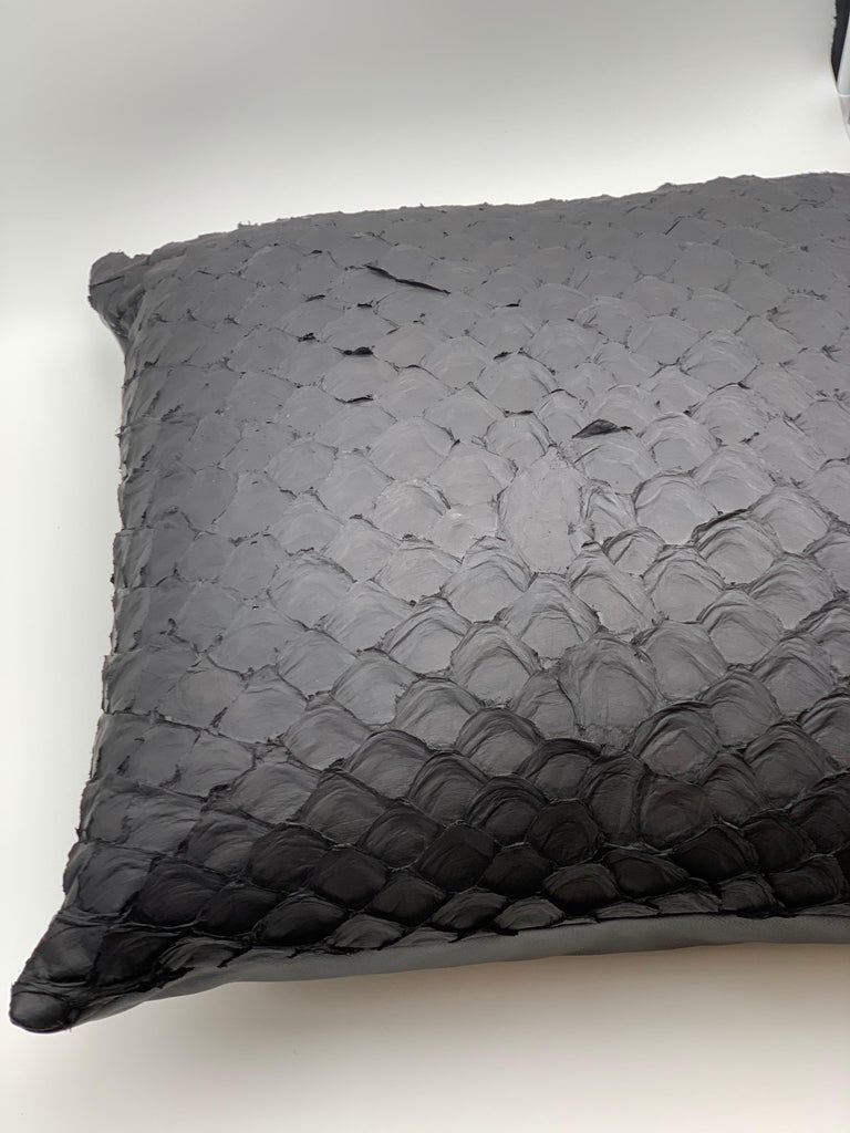 Spanish Leather Cushion, Made with Exclusive Pirarucu Fish Leather Black For Sale