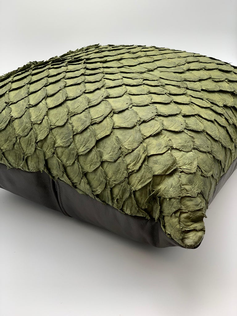 Leather Cushion, Made with Exclusive Pirarucu Fish Leather Black In New Condition For Sale In Alcoy, Alicante