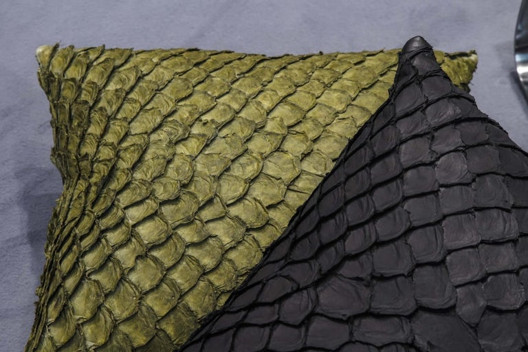 Hide Leather Cushion, Made with Exclusive Pirarucu Fish Leather Black For Sale