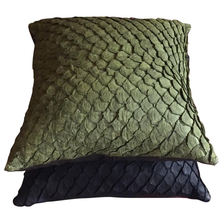 Leather Cushion, Made with Exclusive Pirarucu Fish Leather Black For Sale