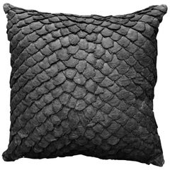 Leather Cushion, Made with Exclusive Pirarucu Fish Leather Black Large Size