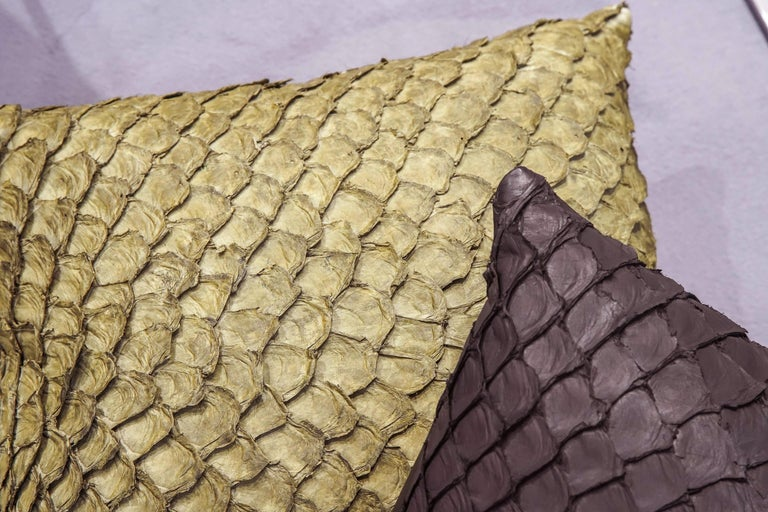 Leather Cushion, Made with Exclusive Pirarucu Fish Leather For Sale 4