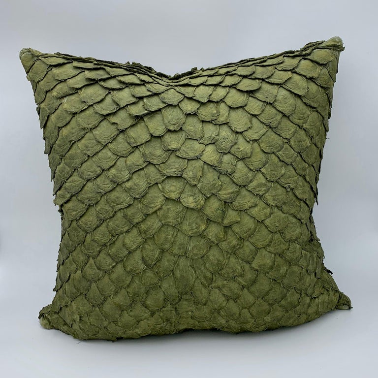 Modern Leather Cushion, Made with Exclusive Pirarucu Fish Leather For Sale