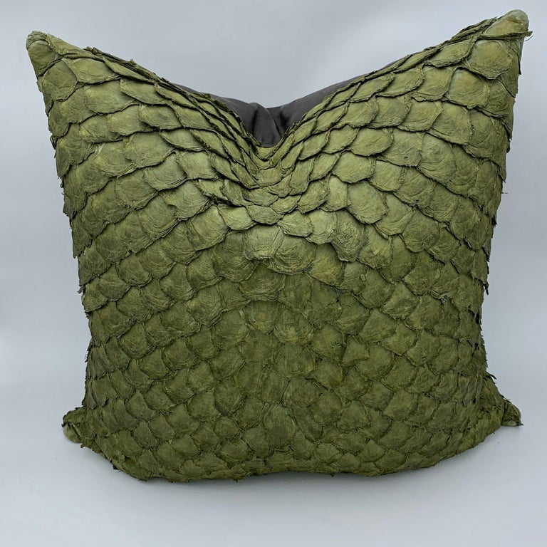 Spanish Leather Cushion, Made with Exclusive Pirarucu Fish Leather For Sale