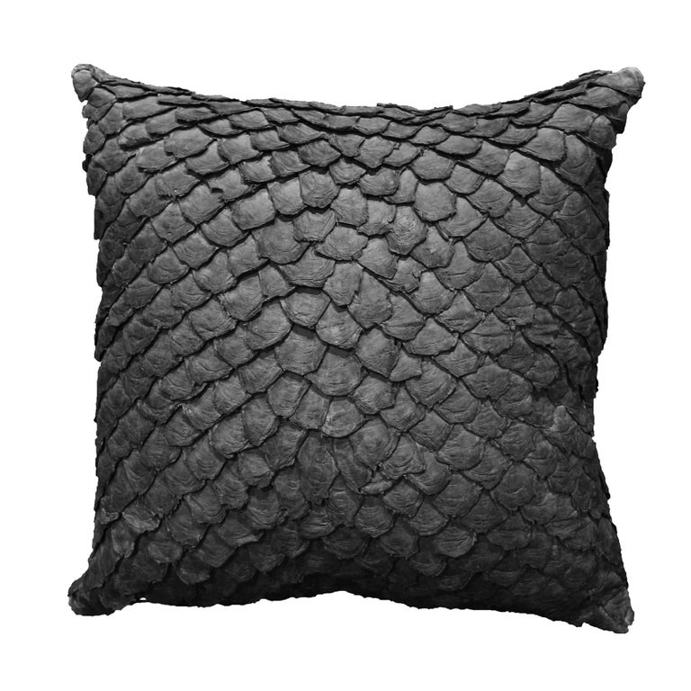The Pirarucu fish leather cushion. One of the most exclusive luxury accesories available, This line of cushions brings the Amazon of Brazil to your home.  A unique leather cushion ideal for its texture and diamon patterns that creates a