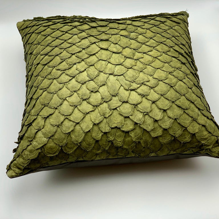 Vegetable Dyed Leather Cushion, Made with Exclusive Pirarucu Fish Leather For Sale