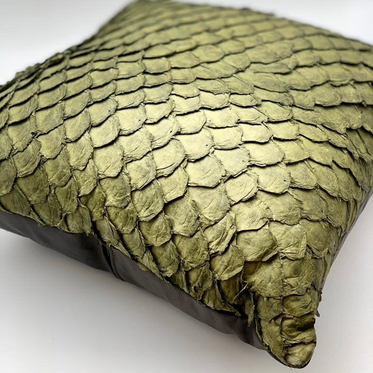Leather Cushion, Made with Exclusive Pirarucu Fish Leather In New Condition For Sale In Alcoy, Alicante