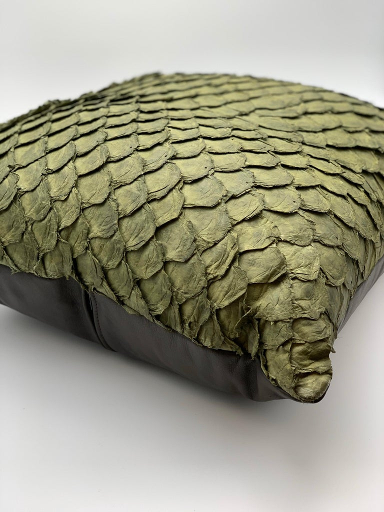Contemporary Leather Cushion, Made with Exclusive Pirarucu Fish Leather For Sale