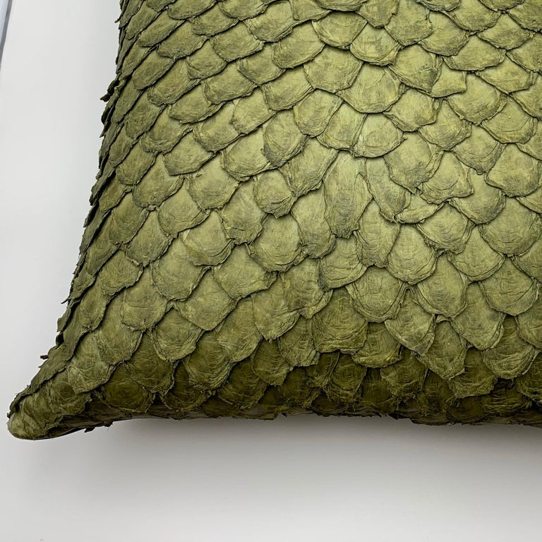 Leather Cushion, Made with Exclusive Pirarucu Fish Leather For Sale 1