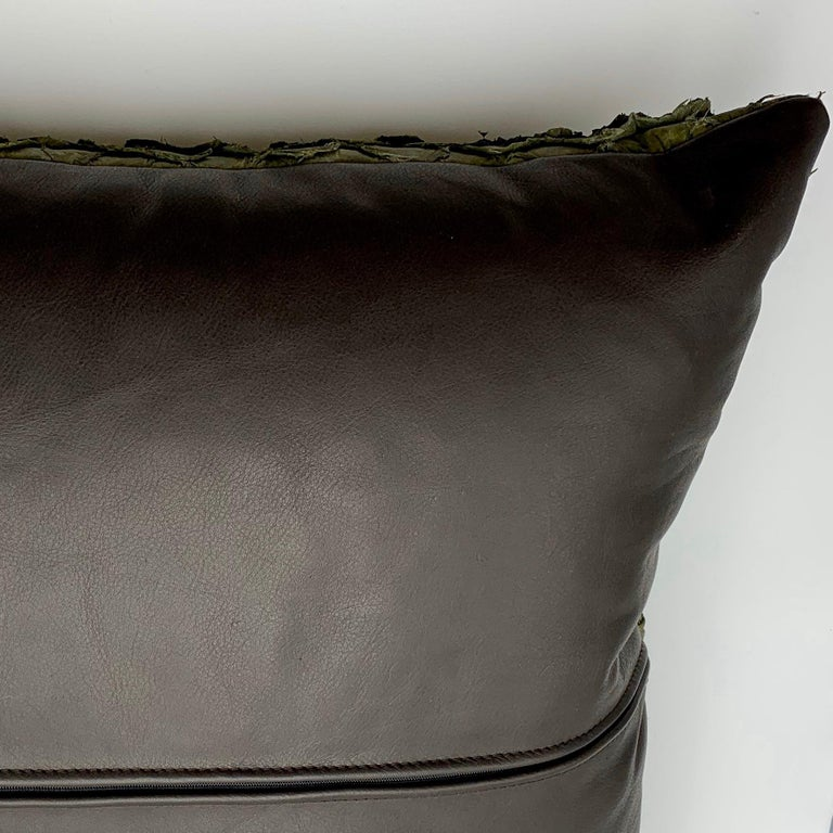 Leather Cushion, Made with Exclusive Pirarucu Fish Leather For Sale 2