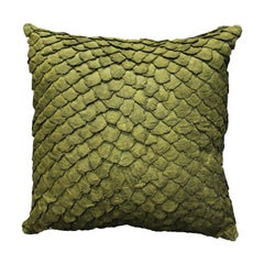 Leather Cushion, Made with Exclusive Pirarucu Fish Leather Green Medium Size