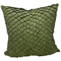 Leather Cushion, Made with Exclusive Pirarucu Fish Leather Green