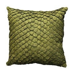 Leather Cushion, Made with Exclusive Pirarucu Fish Leather Green Large Size