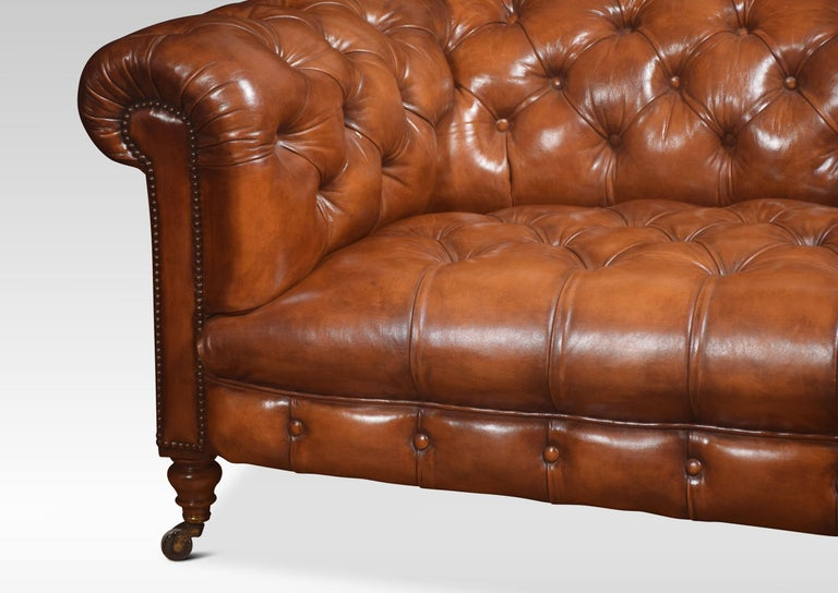 British Leather Deep Buttoned Chesterfield For Sale