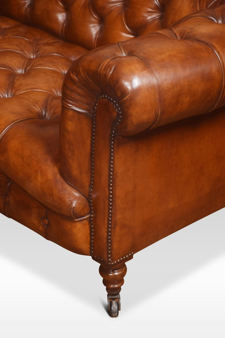 19th Century Leather Deep Buttoned Chesterfield For Sale
