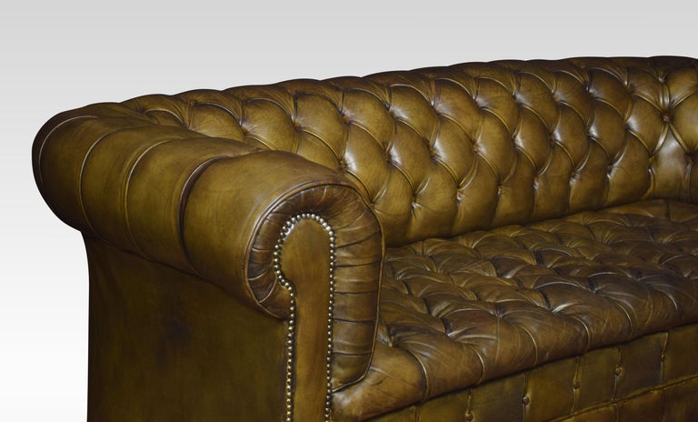 20th Century Leather Deep Buttoned Chesterfield For Sale