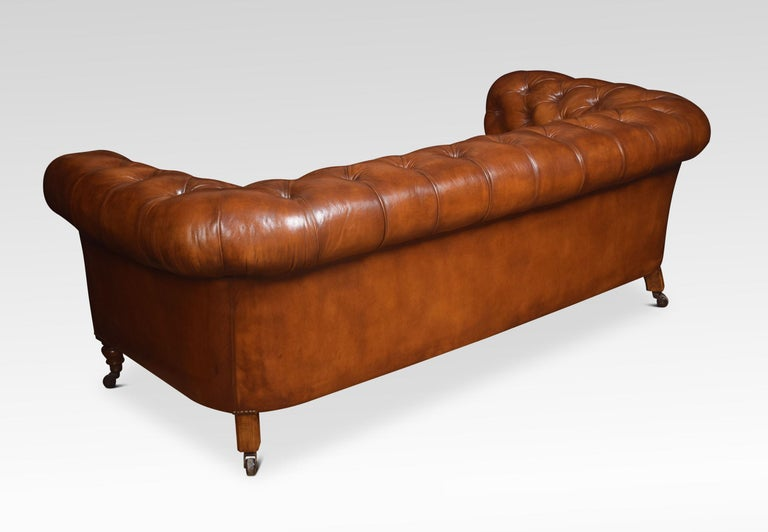 Mahogany Leather Deep Buttoned Chesterfield For Sale