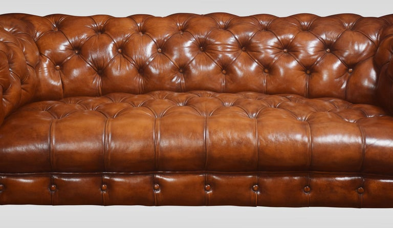 Leather Deep Buttoned Chesterfield For Sale 1