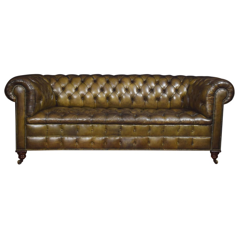 Leather Deep Buttoned Chesterfield For Sale