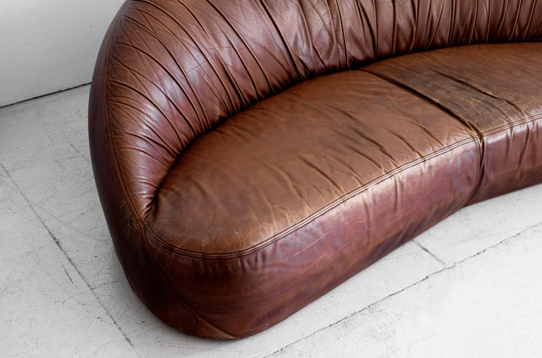 Late 20th Century Leather Demilune Sofa
