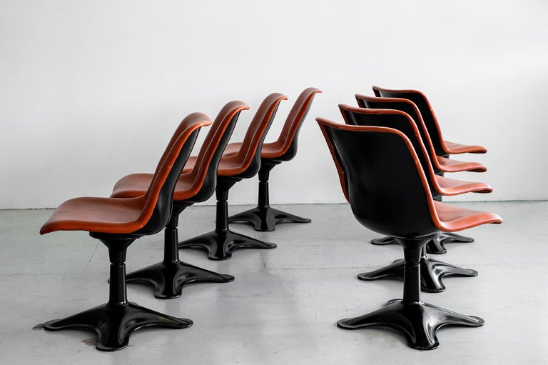 Finnish Leather Dining Chairs by Yrjo Kukkapuro, Set of 8 For Sale