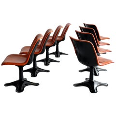 Leather Dining Chairs by Yrjo Kukkapuro, Set of 8
