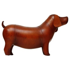 Leather Dog Footstool Attributed to Dimitri Omersa for Abercrombie & Fitch