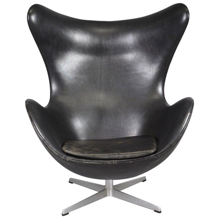 Terrific Leather Egg Chair By Arne Jacobsen For Fritz Hansen 1966 Black Leather Ibusinesslaw Wood Chair Design Ideas Ibusinesslaworg