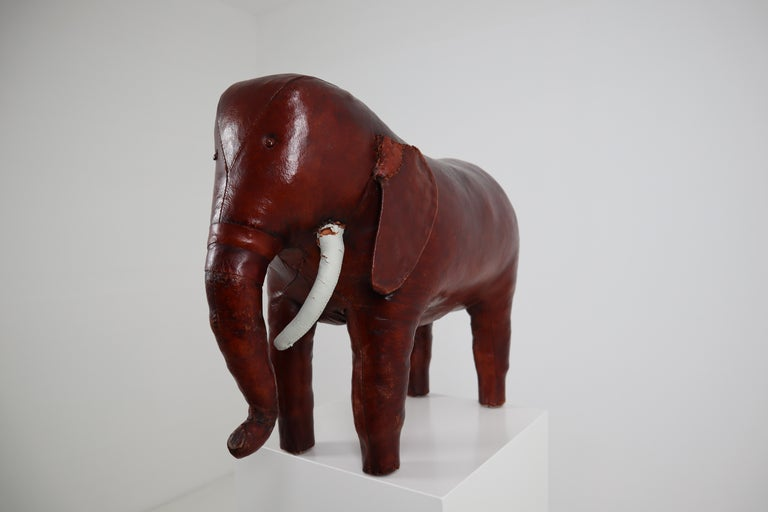 Leather Elephant Foot Stool by Dimitri Omersa for Abercrombie and Fitch For Sale 4